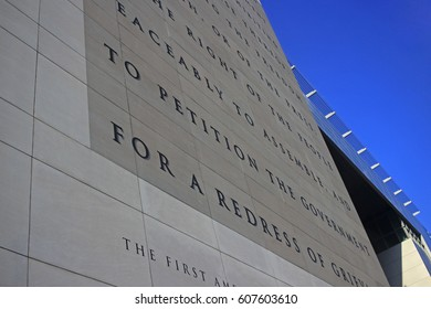 NEWSEUM WASHINGTON DC JULY 2015: The first amendment of the constitution of the United States of America is written on the wall of the museum of the press, the Newseum, in Washington. 7-21-2015