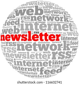 newsletter info-text graphics and arrangement concept on white background (word cloud)