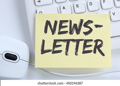 Newsletter subscribing on internet for business marketing campaign office computer keyboard
