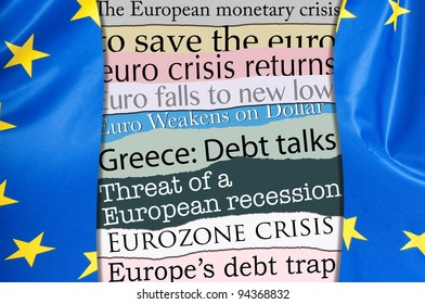 Newsletters Headlines about Financial Crisis With Flag of European Union
