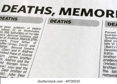 Newspaper advertisement displaying obituaries.