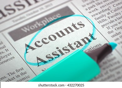Newspaper with Advertisements and Classifieds Ads for Vacancy Accounts Assistant. Blurred Image with Selective focus. Hiring Concept. 3D Render.