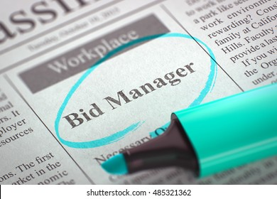 Newspaper with Advertisements and Classifieds Ads for Vacancy Bid Manager. Blurred Image. Selective focus. Job Seeking Concept. 3D Render.