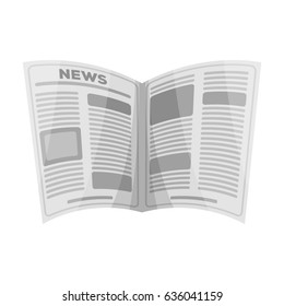 Newspaper.Old age single icon in monochrome style bitmap, raster symbol stock illustration web.