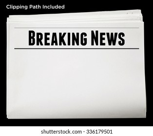 Newspaper with Breaking News Headline and Blank Content Isolated with Clipping Path.