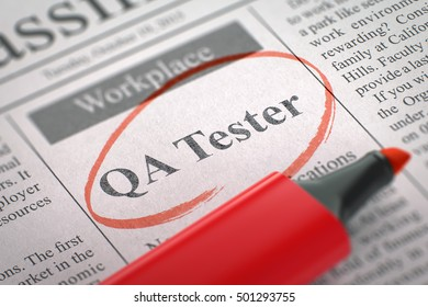 Newspaper with Classified Advertisement of Hiring QA Tester. Blurred Image with Selective focus. Job Seeking Concept. 3D.