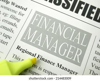 Newspaper classifieds / Financial management