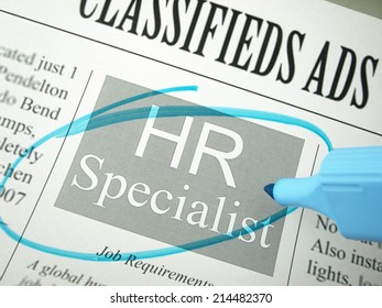 Newspaper classifieds / Human resources person