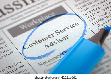 A Newspaper Column in the Classifieds with the Small Ads of Job Search of Customer Service Advisor, Circled with a Blue Marker. Blurred Image. Selective focus. Hiring Concept. 3D Rendering.