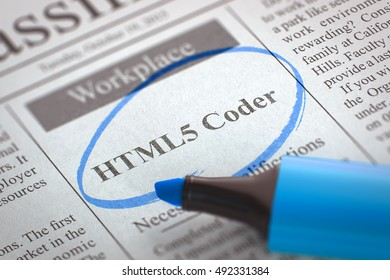 A Newspaper Column in the Classifieds with the Small Ads of Job Search of HTML5 Coder, Circled with a Blue Marker. Blurred Image with Selective focus. Concept of Recruitment. 3D.