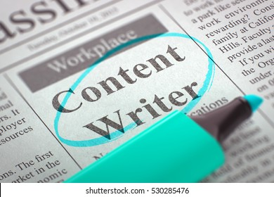 A Newspaper Column in the Classifieds with the Vacancy of Content Writer, Circled with a Azure Highlighter. Blurred Image with Selective focus. Concept of Recruitment. 3D.