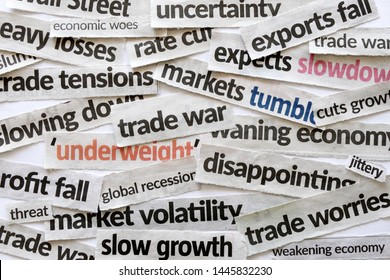 Newspaper cutout of headlines reporting on trade war and the impact on the economy and financial markets presently hogging major dailies and media. Concept for US versus China, Europe trade war.