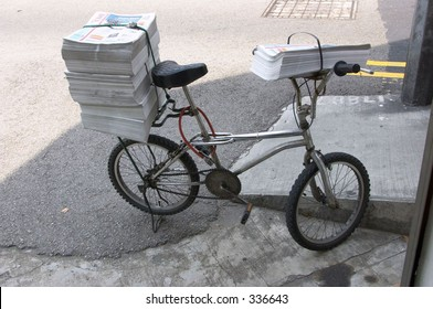 Newspaper delivery bicycle.