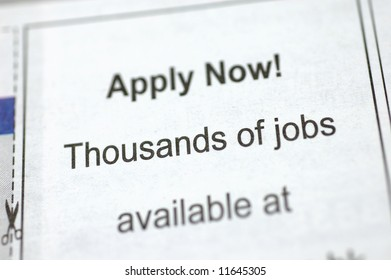 Newspaper employment ad - Apply Now! Thousands of jobs available