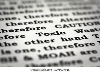 newspaper with focus on the word toxic