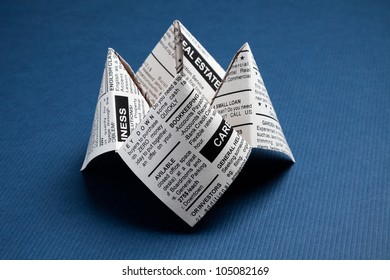 Newspaper Fortune Teller, Classified Ad, business concept.