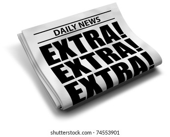 Newspaper front page, isolated on white background