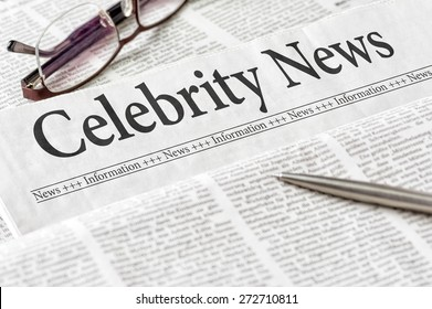 A newspaper with the headline Celebrity News
