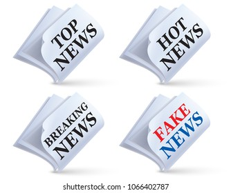 Newspaper isolated on white. Fake, top, hot, breaking news. Creative 3d illustration