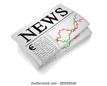 A newspaper isolated from white background showing euro, european union related news.