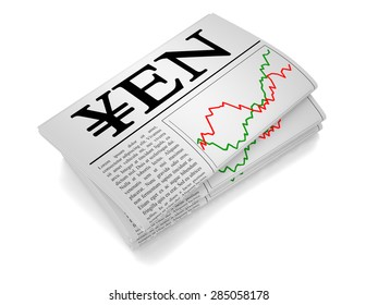 A newspaper isolated from white background showing Yen related news.