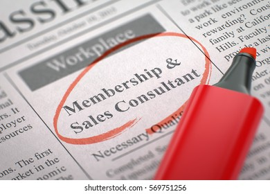 Newspaper with Job Vacancy Membership and Sales Consultant. Blurred Image with Selective focus. Job Seeking Concept. 3D Rendering.