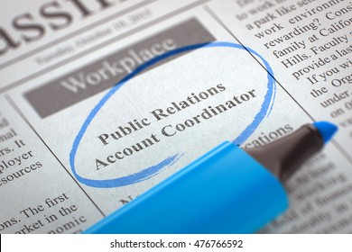Newspaper with Job Vacancy Public Relations Account Coordinator. Blurred Image with Selective focus. Job Search Concept. 3D Illustration.