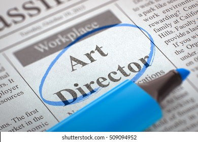 Newspaper with Jobs Art Director. Blurred Image. Selective focus. Job Search Concept. 3D Illustration.