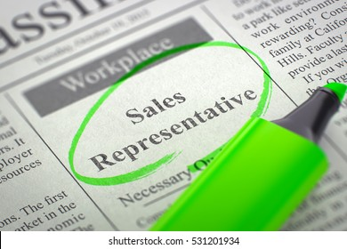 Newspaper with Jobs Section Vacancy Sales Representative. Blurred Image. Selective focus. Job Search Concept. 3D Rendering.