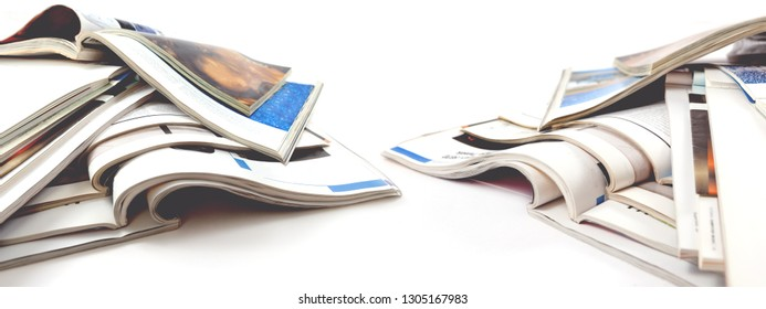 Newspaper and journal. Entertainment and leisure. Publication in magazin and books background. Fashion articles and catalog design over white background