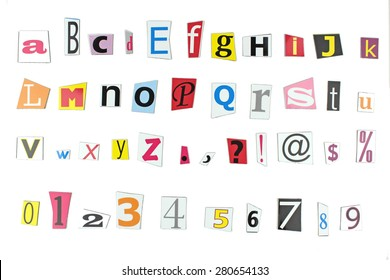 Newspaper letters, numbers and punctuation marks