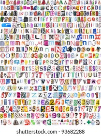 Newspaper, magazine alphabet with 516 letters, numbers and symbols. Isolated on white background.
