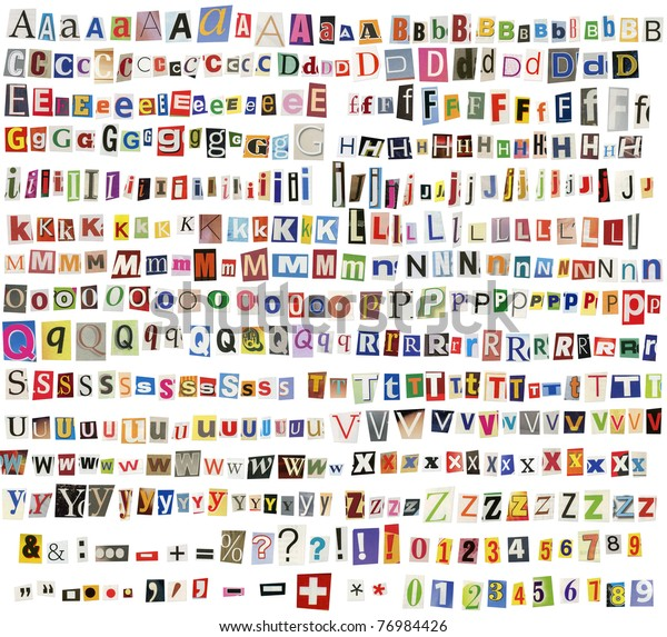 Newspaper, magazine alphabet with letters, numbers and symbols. Isolated on white background.