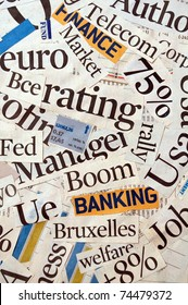 Newspaper and magazine headlines with financial terms and concept