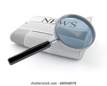 Newspaper with magnifying glass isolated on white background. 3d illustration