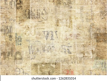 Newspaper with old unreadable text. Vintage grunge blurred paper news texture horizontal background. Textured page. Gray beige sepia collage. Front top view.