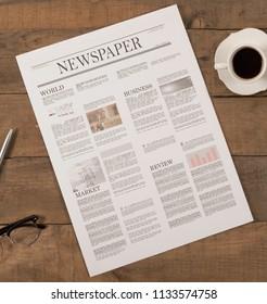 newspaper over office desk