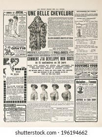 newspaper page with antique advertisement. Woman's fashion magazine Le Petit Echo de la Mode 1919 Paris, France