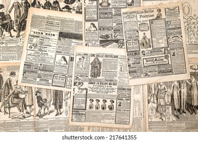 Newspaper pages with antique advertising. Woman's fashion magazine Le Petit Echo de la Mode from 1919
