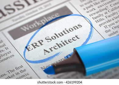 Newspaper with Small Ads of Job Search ERP Solutions Architect. Blurred Image. Selective focus. Hiring Concept. 3D Render.