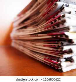 Newspaper stack, background