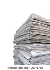Newspaper stack on white background