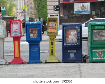 Newspaper stands on the street in NYC