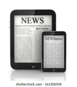 newspaper in  tablet and mobile smart phone, 3d