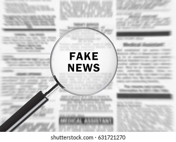 Newspaper under magnifying glass exposing fake news