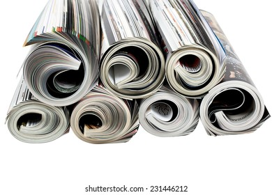 Newspapers and magazine isolated white background