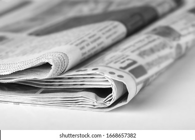 Newspapers on the table in the office. News concept