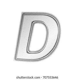 Newsprint paper style uppercase or capital letter D in a 3D illustration with a rough textured gray outlined newspaper effect and basic bold font isolated on a white background with clipping path.