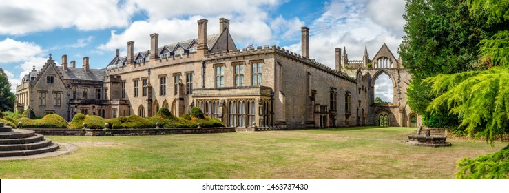 Newstaead, Nottinghamshire, England, UK - August 3, 2018: Wide panorama of Newstead Abbey.  Also a late home of famous English romantic poet, Lord Byron in the 19th century.