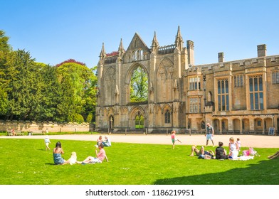 Newstead Abbey, England - May 6, 2018: Medieval architecture in Newstead Abbey grounds, major tourist landmark in Nottinghamshire, East Midlands, England